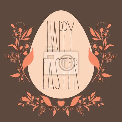 9d9ce3fe6 Cuadro Feliz cartel festivo de Pascua con el ornamento decorativo floral