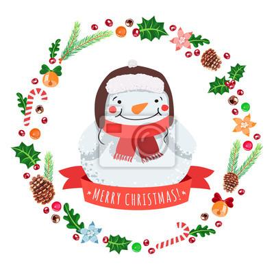 Feliz Navidad Muñeco De Nieve De Dibujos Animados En Un Sombrero