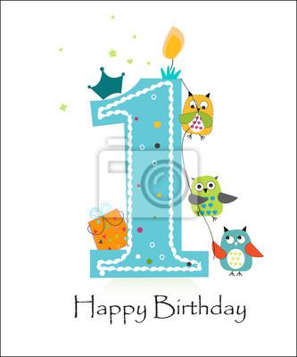 b960d238f4498 Cuadro Feliz primer cumpleaños con los búhos bebé vector de tarjetas de  felicitación