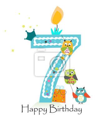 dfe94f0d67c49 Cuadro Feliz séptimo cumpleaños con tarjeta de felicitación de bebé de búhos