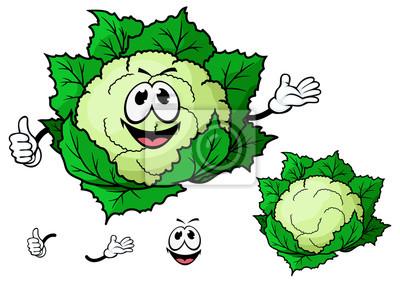 Feliz Sonriente Coliflor De Verduras De Dibujos Animados