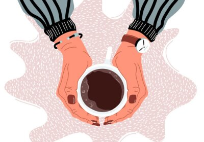 Cuadro Female hands holding coffee cup flat vector illustration