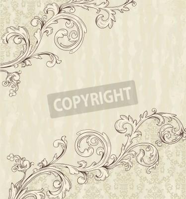 Cuadro Ficha detallada de la vendimia con el papel pintado del damasco en fondo beige del grunge
