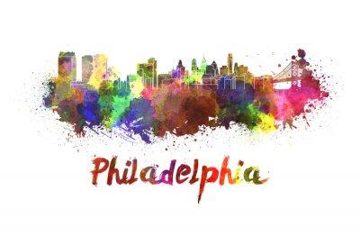 Cuadro Filadelfia horizonte en acuarela