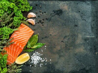 Cuadro Filete de pescado de salmón con hierbas y especias