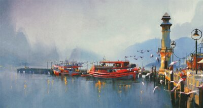 Cuadro fishing boat in harbor at morning,watercolor painting style