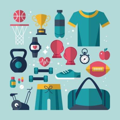 Cuadro Fitness y salud iconos planos establecidos