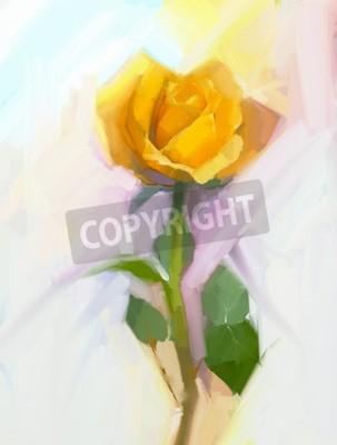 Cuadro Flor amarilla de la rosa del extracto con la pintura al óleo de la hoja verde. Pintado a mano floral en color suave y borrosa estilo de fondo