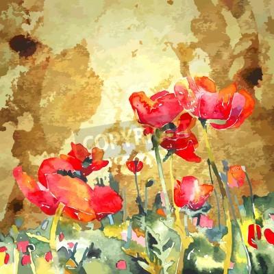 Cuadro flor de amapola acuarela original en el fondo de oro