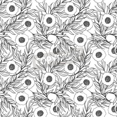 Flor de amapola vector patrón transparente. impresión floral ...