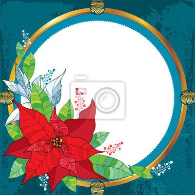 Flor de poinsettia o estrella de navidad con marco redondo en ...