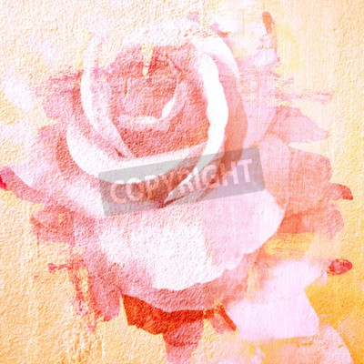 Cuadro Flor rosa hermosa, ilustración de pintura de arte para el fondo