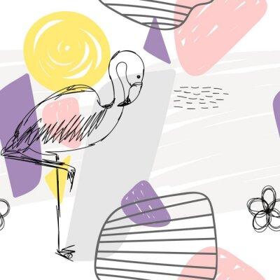 Cuadro Floral sin fisuras patrón geométrico abstracto con flamenco.