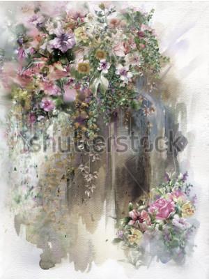 Cuadro Flores abstractas en la pared acuarela pintura. Flores de primavera multicolor