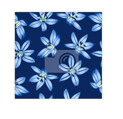 Flores Azules En Fondo Azul Marino Cifra Sin Costuras Pinturas