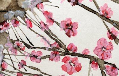 Cuadro flores de acuarela de color rosa