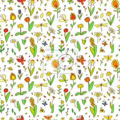 Flores Frescas De Primavera De Dibujos Animados Patron Transparente