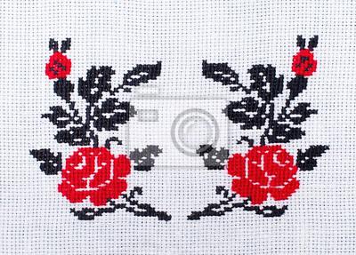 Flores Rosas Bordadas Patron De Punto De Cruz Adornos Etnicos