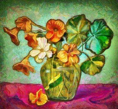 Cuadro Flores vaso de cristal