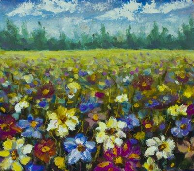 Cuadro Flowers field oil painting.