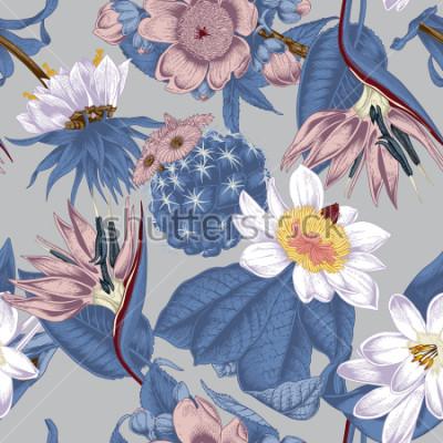 Cuadro Flowers. Seamless vector background. Vintage illustration. Exotica. Tropics.