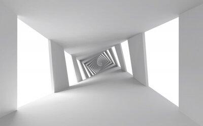 Cuadro Fondo abstracto 3d con blanco retorcido corredor espiral