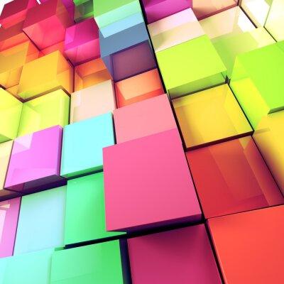 Cuadro Fondo abstracto de cubos de colores