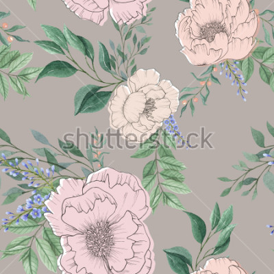 Cuadro Fondo acuarela transparente mezcla flor floral colorida y hojas con arte lineal utilizado para textura de fondo, papel de regalo, textil o diseño de papel tapiz