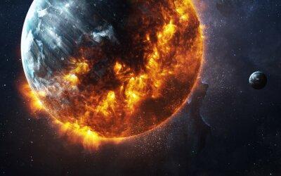 Cuadro Fondo apocalíptico abstracto - planeta que quema y que explode. Esta imagen de elementos proporcionados por la NASA