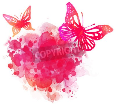 Cuadro Fondo asombroso de la acuarela con la mariposa. Vector de arte aislado en blanco