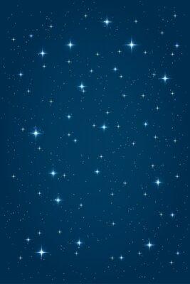 Cuadro Fondo azul estrellado de la noche. Vector plantilla de diseño vertical