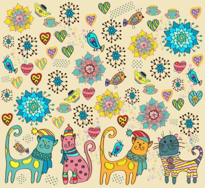 Cuadro Fondo brillante con los gatos, flores y corazones