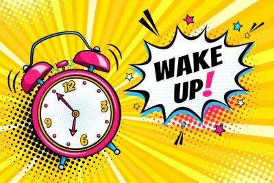Cuadro Fondo con el reloj de alarma cómico sonando y burbuja de discurso de expresión con despertar texto. Vector brillante dinámica ilustración de dibujos animados en estilo retro pop art sobre fondo de sem