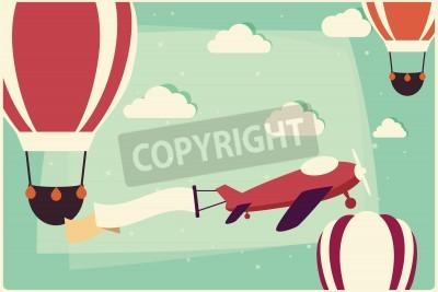 Cuadro Fondo con globos de aire caliente y avión con cinta, ilustración vectorial