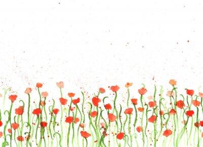 Cuadro Fondo con la mano dibujo acuarela amapolas rojas en blanco. Banner transparente con flores. Mano pintar frontera de espacio de copia de color.
