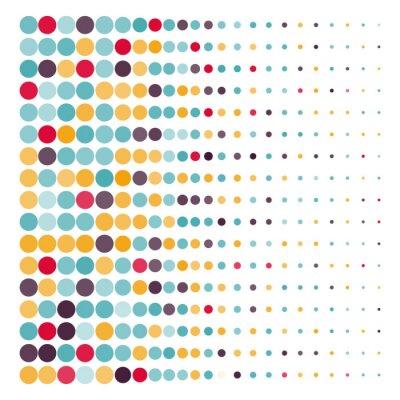 Cuadro Fondo con los círculos de puntos de colores en un vector