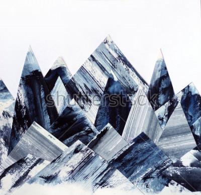 Cuadro Fondo de arte. Textura de tinta sobre papel. Collage de montañas abstractas