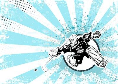 Cuadro fondo de hockey sobre hielo retro poster