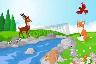 Cuadro Fondo De La Naturaleza Paisaje De Dibujos Animados Con Animales