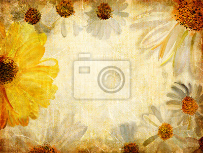 fondo de la vendimia con la frontera floral pintado