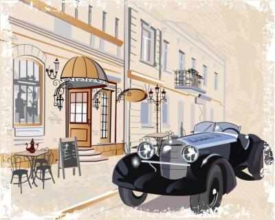 Cuadro Fondo de la vendimia con un coche y músicos retro, vistas del casco antiguo.
