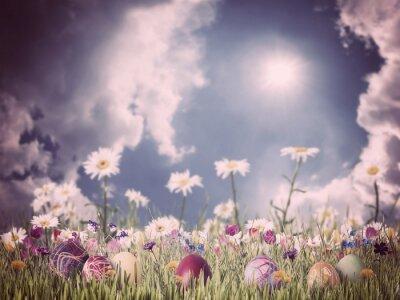 Cuadro Fondo de la vendimia de Pascua con los huevos y las flores