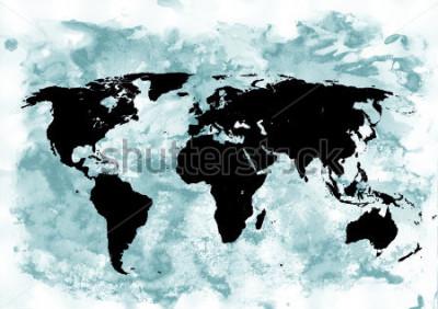 Cuadro Fondo de mapa del mundo. Fondo del grunge Arte abstracto y emocional. Elemento de diseño moderno.