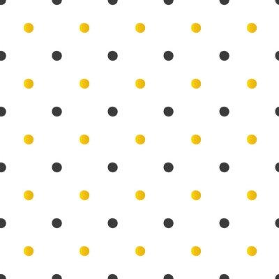 Cuadro Fondo de patrón transparente de lunares dorados y negros.