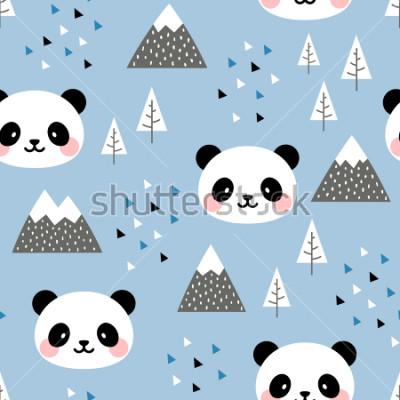 Cuadro Fondo de patrones sin fisuras de panda, panda lindo feliz escandinavo en el bosque entre el árbol de la montaña y la nube, dibujos animados Ilustración de vector de osos panda para niños de fondo nórd
