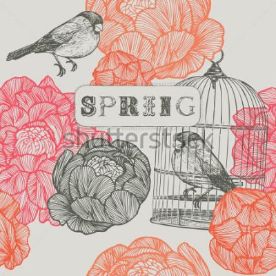 Cuadro Fondo de primavera. Aves y jaulas. Patrón sin costuras