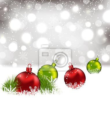 Fondo del invierno de navidad con bolas de cristal de colores ...