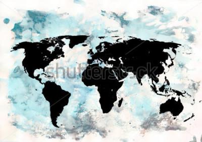 Cuadro Fondo del mapa del mundo Fondo del grunge Arte abstracto y emocional. Elemento de diseño moderno.