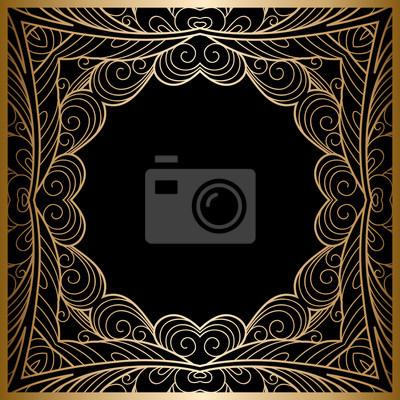 Fondo del oro de la vendimia, marco cuadrado ornamental del lacy ...