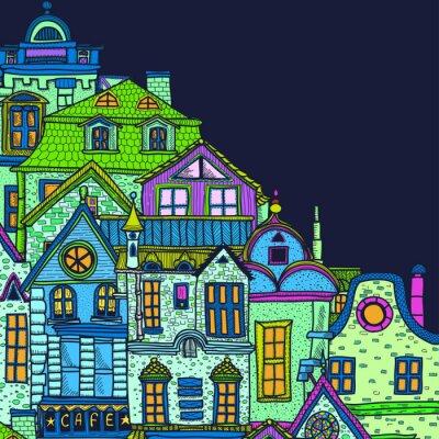 Cuadro Fondo dibujado a mano con la noche de la ciudad vieja